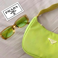 PRADA 2020 New Nylon Retro Hobo-Underarm Bag-Leisure-Crescent Crossbody Bag Fluorescent green