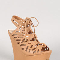 Bamboo Leatherette Cutout Lace Up Platform Wedge
