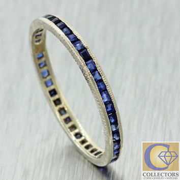 Vintage Estate 14k Solid White Gold .40ctw Baguette Sapphire Stackable Band Ring