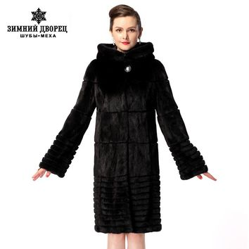 New style ladies' fashion In the long section mink coats, fur coat from natural fur,mink fur coat black,imported fur mink coat