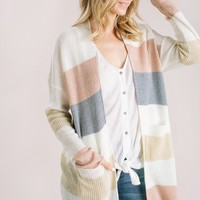Renee Blush Colorblock Cardigan