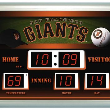 "San Francisco Giants Clock - 14""x19"" Scoreboard"