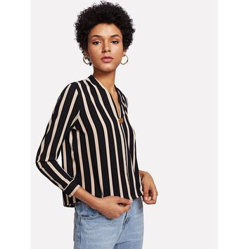Block Stripe Button Blouse