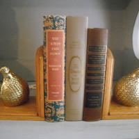 Vintage Mid Century Modern set of Brass and Wood Quail Grouse or Partridge bookends