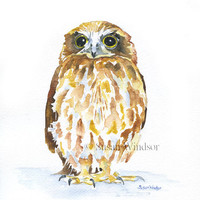Owl Watercolor Painting Giclee Print 5 x 7 Woodland Animal Art Print