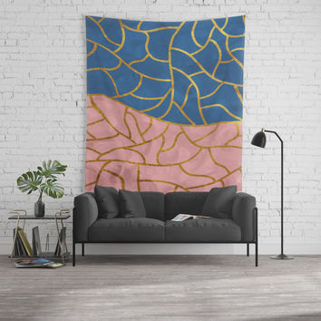 Textured blue - pink & gold Wall Tapestry by vivigonzalezart