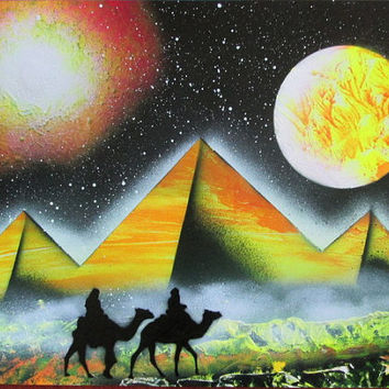 egyptian pyramid painting,spray paint art,neon,egyptian art,egyptian decor,gift for him birthday,galaxy decor,space poster,space decor kids