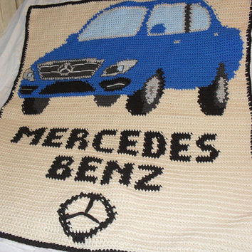 Crochet Afghan, Mercedes Benz, Logo, Blanket, Throw, Stadium Blanket,  Immediate delivery, Other Custom Request Available