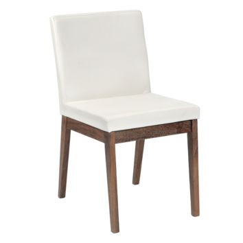 BRANDON WHITE SOFT FAUX LEATHER WITH SOLID WALNUT DISTRESSED FINISH LEGS DINING CHAIR