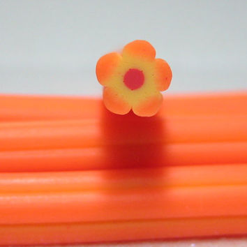 Polymer clay cane flower orange and yellow 1pcs for miniature foods decoden and nail art supplies