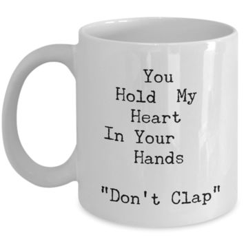 """Best Valentines Day Gifts for Women - Valentine's Day Mug - Valentines Travel Mug Valentines Gift Deals - Boyfriend Husband Fiance Mens Valentines Day Gifts - You Hold My Heart White Ceramic 11"""" Vday Jar Cup For Coffee & Cookies"""