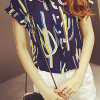 Navy Blue Cactus Print Blouse With White Shorts