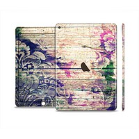 The Abstract Color Floral Painted Wood Planks Skin Set for the Apple iPad Air 2