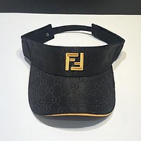 FENDI Summer Popular Fashion Women Men Double F Letter  Sports Sun Hat Baseball Cap Hat Black