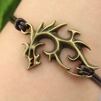 lord of ring inspiron--evil Dragon bracelet,antique bronze charm bracelet, brown leather bracelet