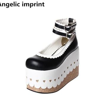 Angelic imprint woman mori girl lolita cosplay shoes lady high wedges heels pumps women princess dress party shoes lacework 10cm