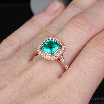 8mm Lab Emerald Engagement ring Rose gold,Diamond wedding band,14k,Cushion Cut Treated Emerald,Green Gemstone Promise Ring,Bridal,Bezel Set