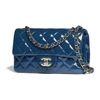 Patent Calfskin & Gold-Tone Metal Dark Blue Mini Flap Bag | CHANEL