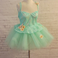 Adult tutu outfit, fairy costume, mint green adult tutu halloween costume sexy fairy nymph costume, cosplay comicon edc edm rave