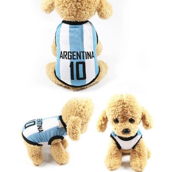Sports Pet T-shirt Clothing Plus Size Pet Dog Football Match Print Vest Clothes for Dogs Costume J2Y