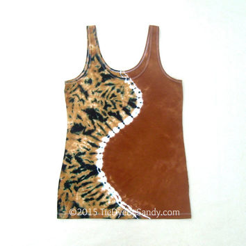 Juniors XL Tie Dye Tank Top/ Tan Curve