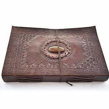 Vintage Leather Embossed Stone Stitched Handmade Leather Photo Album