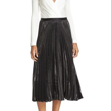 Diane von Furstenberg Heavyn Metallic Pleated Midi Skirt | Nordstrom