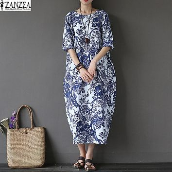 L-5XL ZANZEA Womens Floral Printed Short Sleeve Cotton Linen Maxi Long Dress Loose Baggy Boho Casual Kaftan Tunic Plus Size Bohemian