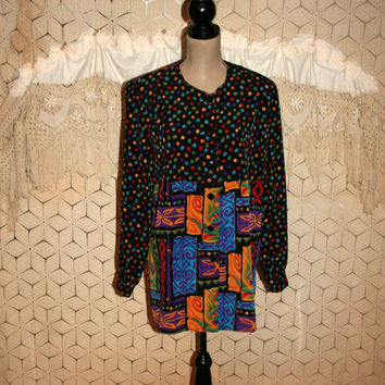 Womens 80s Blouse Long Sleeve Button Up Tunic Shirt Colorful Black Long Tops for Women Abstract Tribal Print Large XL 1980s Vintage Clothing