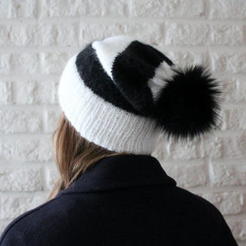 Fur pom pom hat, Black and white hat, Mohair hat, Knit hat with brim, Fur bobble hat, Black pom pom hat, Fluffy hat, Slouch hat