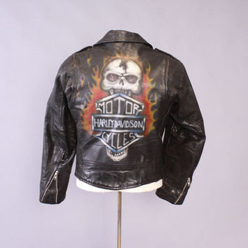 Vintage 80s LEATHER JACKET / 1980s Men's Custom Air Brushed HARLEY Davidson Black Biker Jacket M