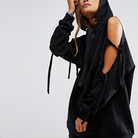 ASOS Hoodie with Knot Detail Cold Shoulder and Oversized Trims at asos.com