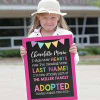 Adoption chalkboard, Adoption Sign, Adoption Announcement, Adoption Gifts, Adoption Print, Adoption Day, Gotcha Day Sign, ADOPTED SIGN