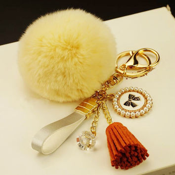 Pom Pom Silk Tassel Keychain, Tassel Key Chain, Faux Fur Pom Pom with tassel key chains, furry key chains, large fur balls, pom-pom keychain