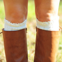 Lace On Top Boot Socks: Ivory