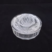 Clear Glass Trinket Box, Clear Glass Trinket Box with Frosted Tulip on the Lid, UK Seller