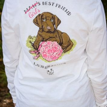 LAUREN JAMES: Girl's Best Friend Long Sleeve Sweet Tee Shirt - White