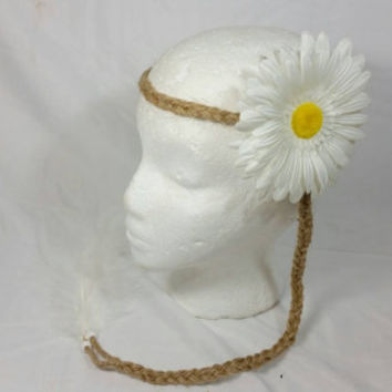Hippie White Daisy Braided Twine Headband/Groovy Headband/Braided Jute Headband/Feather Coachella Boho Headband/Wedding Accessories