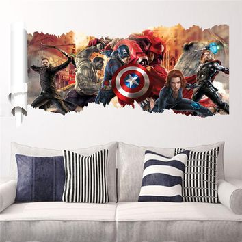 popular super hero wall decal gift 1457. Avengers movie character stickers for kids bedroom home decoration mural art poster 5.5
