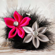Hot Stuff candy heart lotus & mum kanzashi collage with black boa feathers hair accessory clip