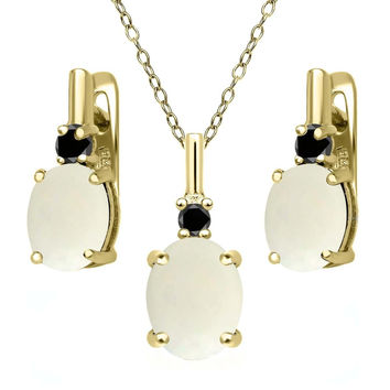 4.87 Ct White Opal and Black Diamond 18K Yellow Gold Plated Silver Jewelry Set