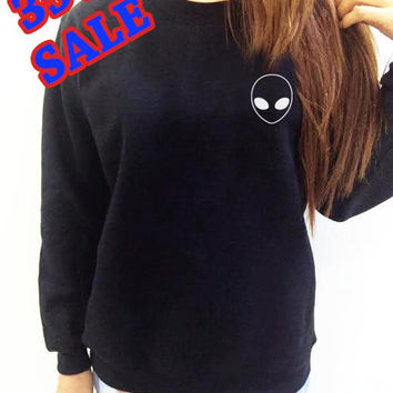 Alien Sweatshirt Shirt Tumblr Slogan Funny Black Shirt Clothing Long Sleeve UNISEX Women Men