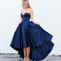 High Low Blue Satin Prom Dresses