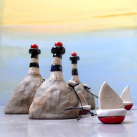 Miniature ceramic lighthouse with a little ceramic boat , miniature ceramic sculpture / ceramics and pottery / for him / collectible