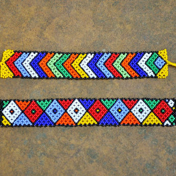 2 Beaded wrist bands (colorful, African, pattern design bracelet)