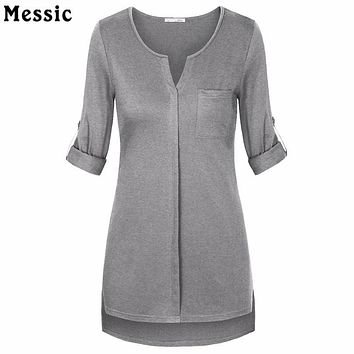 Women Long Sleeve Casual Shirts Summer Top V-Neck Cuffed Sleeve High Low Hem Loose Fit Elegant Tunic Top Big Size Female Blouses