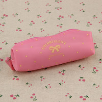1pcs Cute Candy Color Bow Jelly Silicone Waterproof Pencil Case Stationery Storage Organizer Bag School Office Supply Escolar