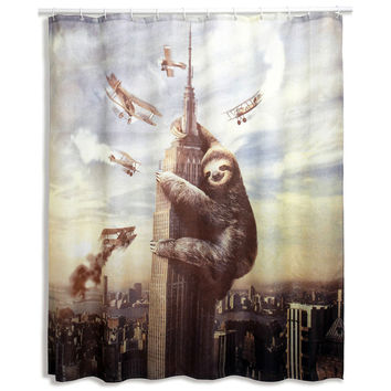Multi-colored Slothzilla Shower Curtain | Overstock.com Shopping - The Best Deals on Bath Accessories