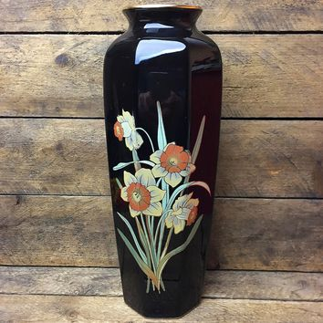 Vintage Tall Black Vase with Daffodil Design - Action Made in Japan