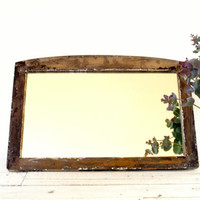 Antique Wood Mirror // White // Rustic // Wall